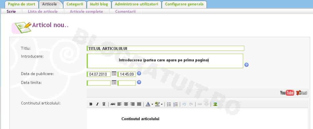 Data limita si data de publicare a unui articol pe blog Pasul110