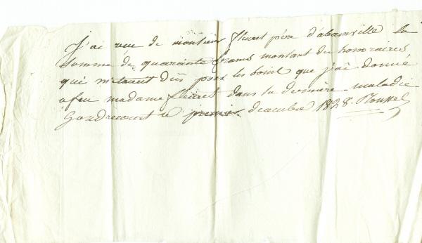 Reçu du Dr ROUSSEL à Antoine FLEURET d'Abainville 1828 Recu_d11