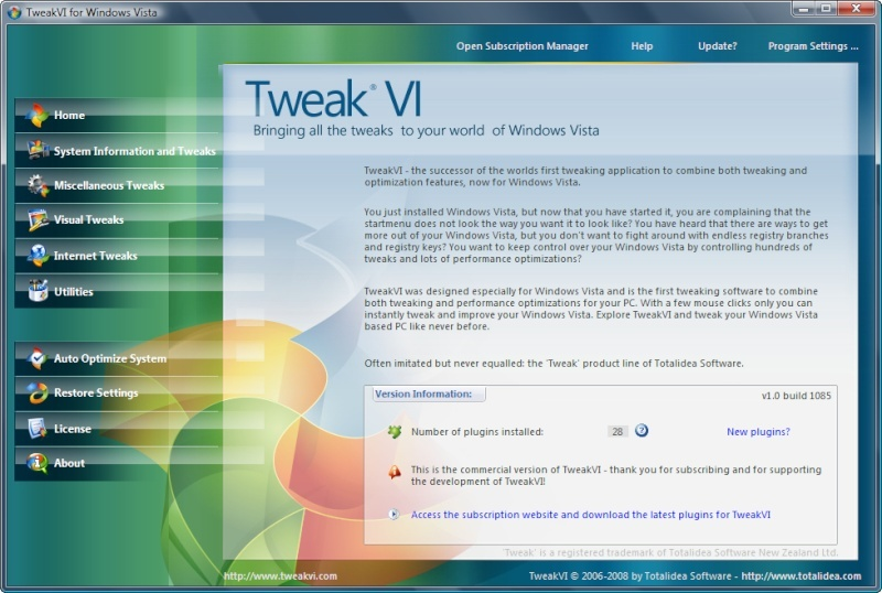 TweakVI Ultimate 1.0 Build 1085 [Multilingual] 11mcpx10