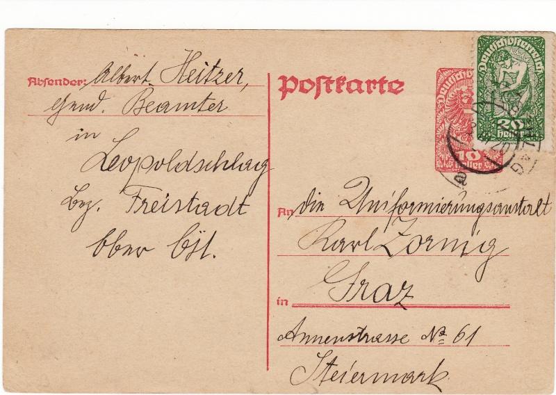 """Postkartenserie """"Neuer Wappenadler"""", Inschrift """"Deutschösterreich"""" Img18"""