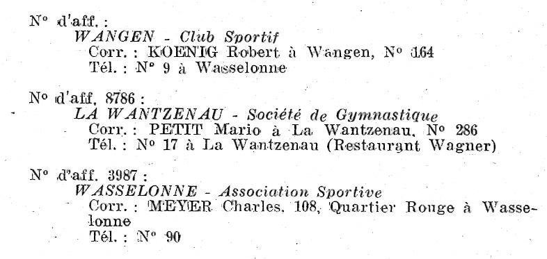 Le CSW - Club Sportif de Wangen Numari24