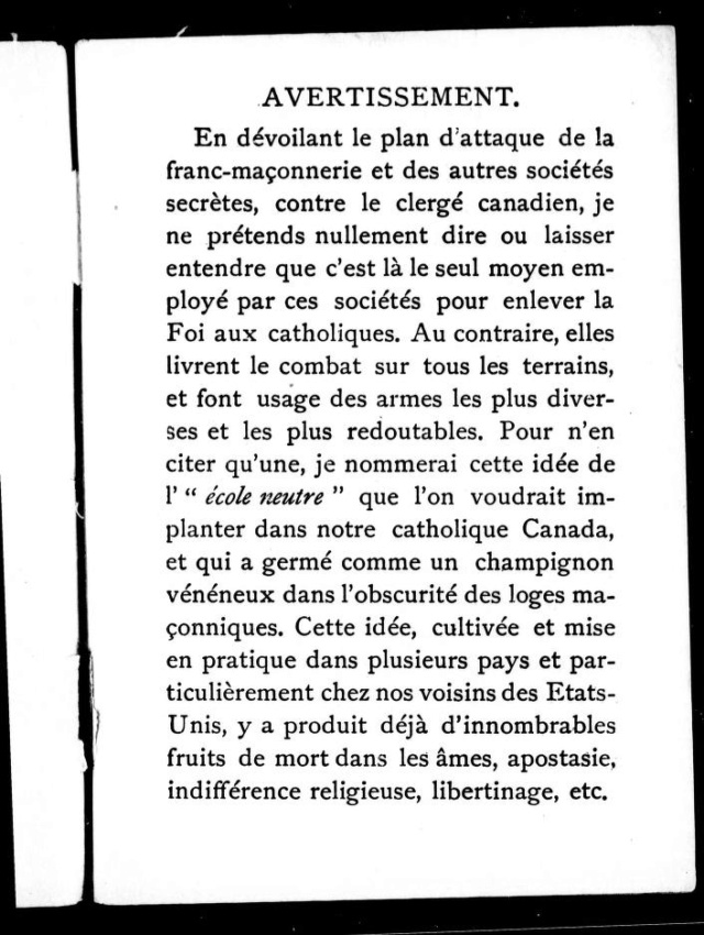 1898 - « COMMENT LA FRANC-MAÇONNERIE TRAVAILLE À DÉTRUIRE LA RELIGION CHRÉTIENNE EN CANADA. » 1_cihm10