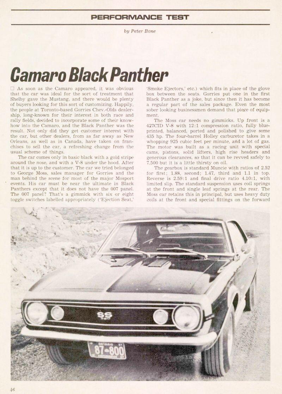 Panther - La Camaro Black Panther 1967 - Un Muscle car de rue des plus rare 67blac10