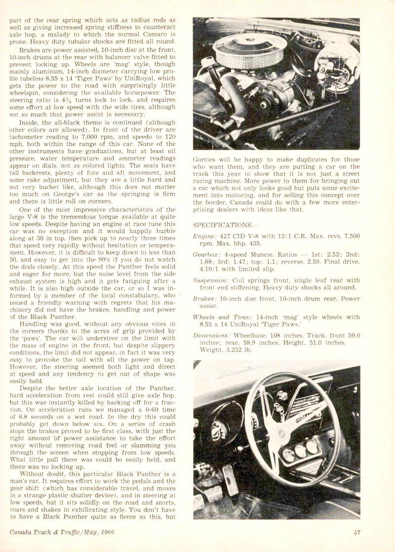 Panther - La Camaro Black Panther 1967 - Un Muscle car de rue des plus rare 67camb10