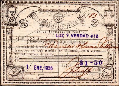 RECIBO DE LA LOGIA LUZ Y VERDAD No. 12 de SANTIAGO DE LAS VEGAS Logia_11