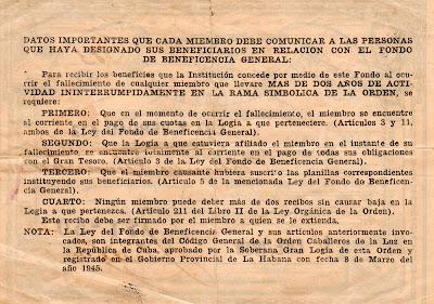 RECIBO DE LA LOGIA LUZ Y VERDAD No. 12 de SANTIAGO DE LAS VEGAS Logia_12