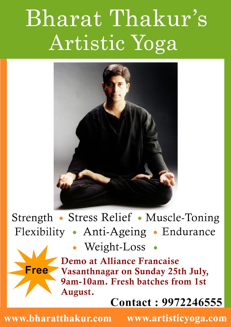 Demonstration session of Artistic Yoga on Alliance Francaise, Sunday 25 July, 9am to 10 am,Entry Free Artist11