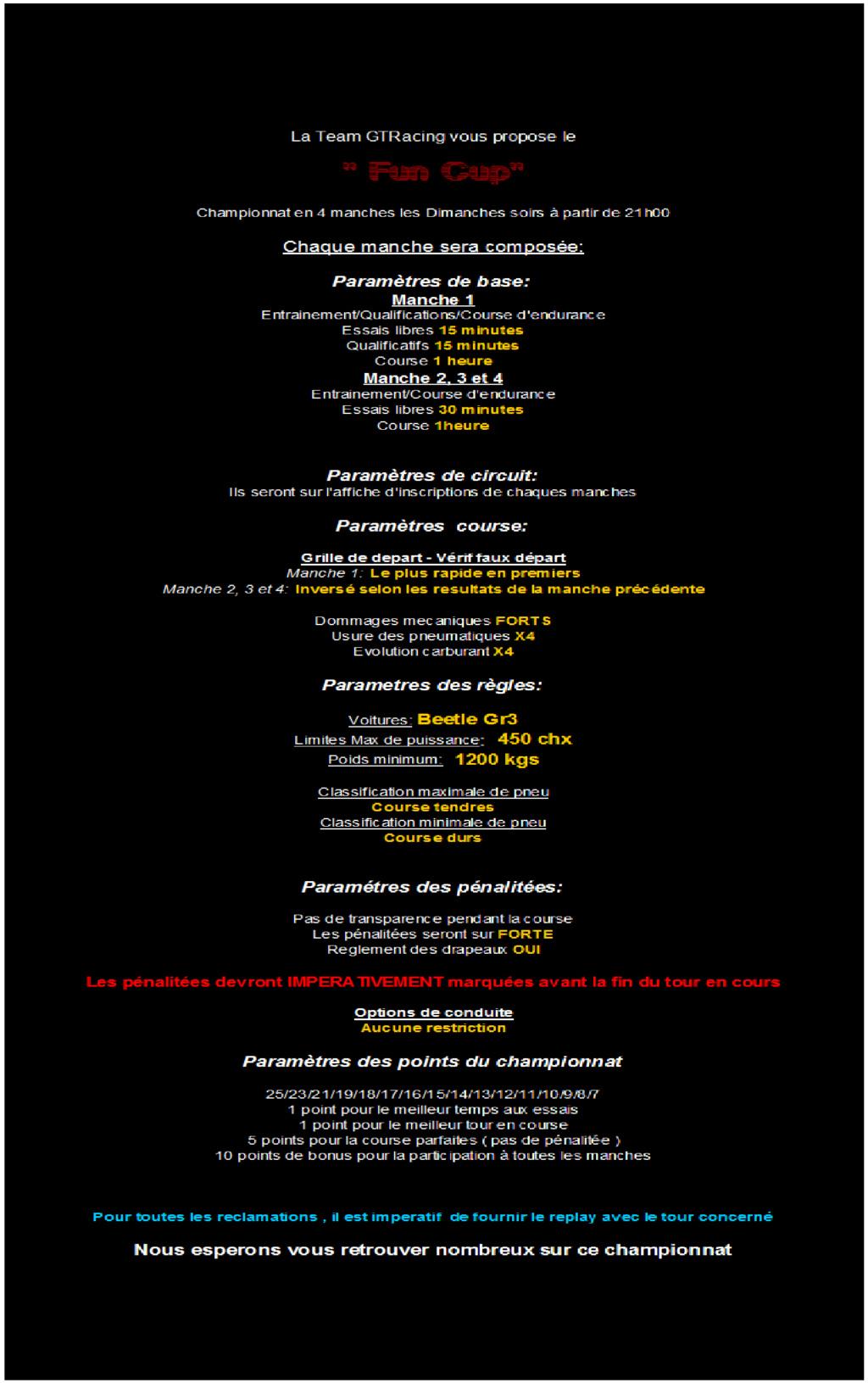 """""""Fun Cup 2020"""" Présentations, règlement et paramètres Parame10"""