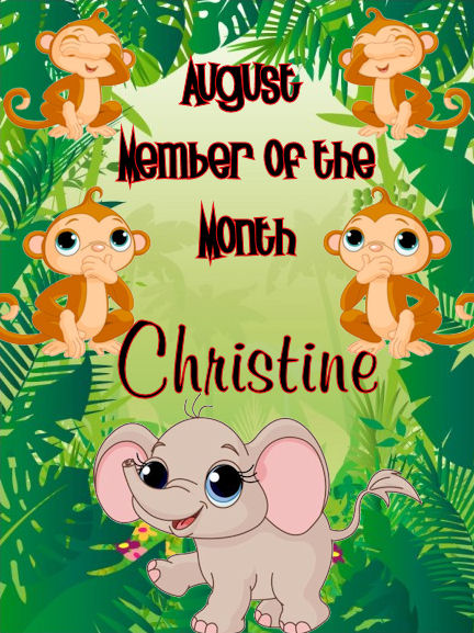 Congratulations CHRISTINE - August member of the month Member10