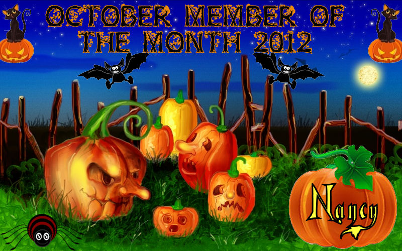 CONGRATULATIONS NANCY, OCTOBER MEMBER OF THE MONTH Mom10