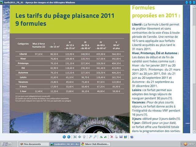 les tarifs du péage plaisance 2011 Sans_t10