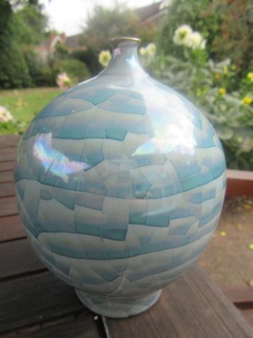 Blue crystalline vase. Whose signature? Img_0558