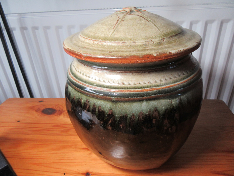 Unsigned stoneware lidded pot. Img_7810