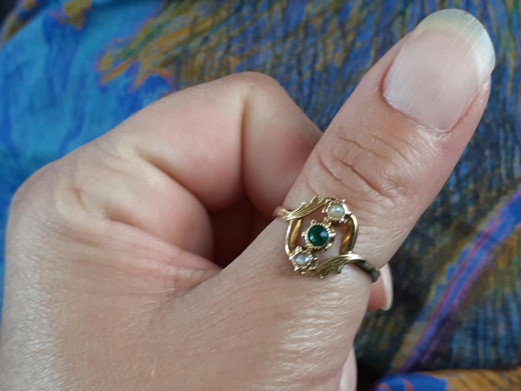 Agrandissement bague emeraude perles 15674210