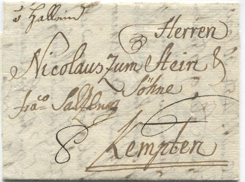 Briefe aus der Vormarkenzeit aus - nach und über Salzburg Hallei10