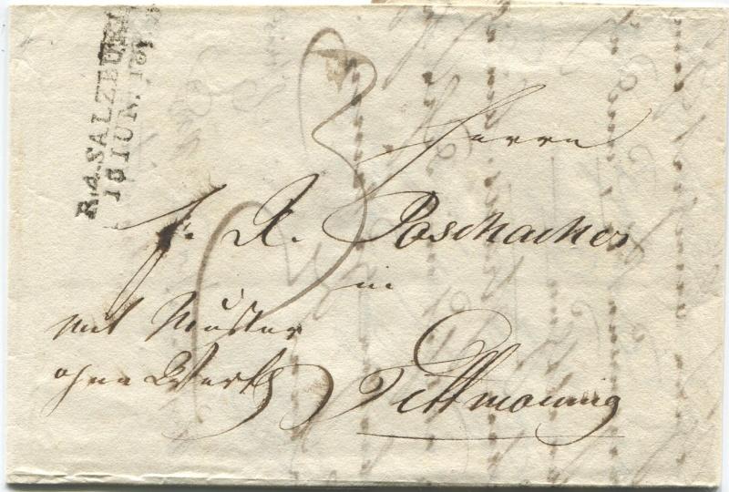 Briefe aus der Vormarkenzeit aus - nach und über Salzburg Mow110