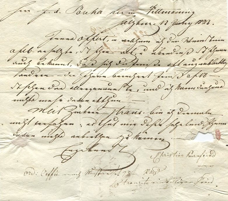 Briefe aus der Vormarkenzeit aus - nach und über Salzburg Mow310