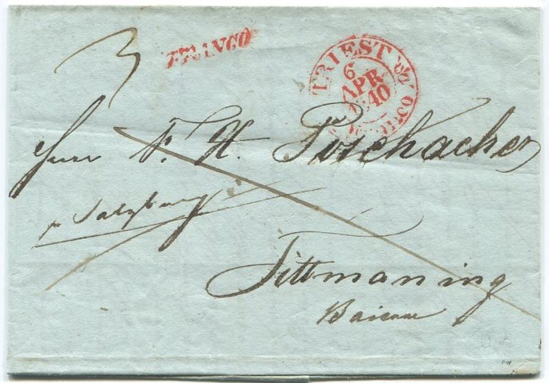 Briefe aus der Vormarkenzeit aus - nach und über Salzburg Triest14