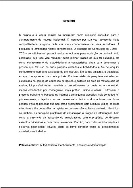 Resumo em língua vernácula Resumo10