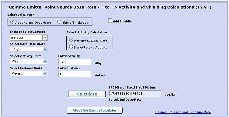 Calculs débit de Dose  Radpro10