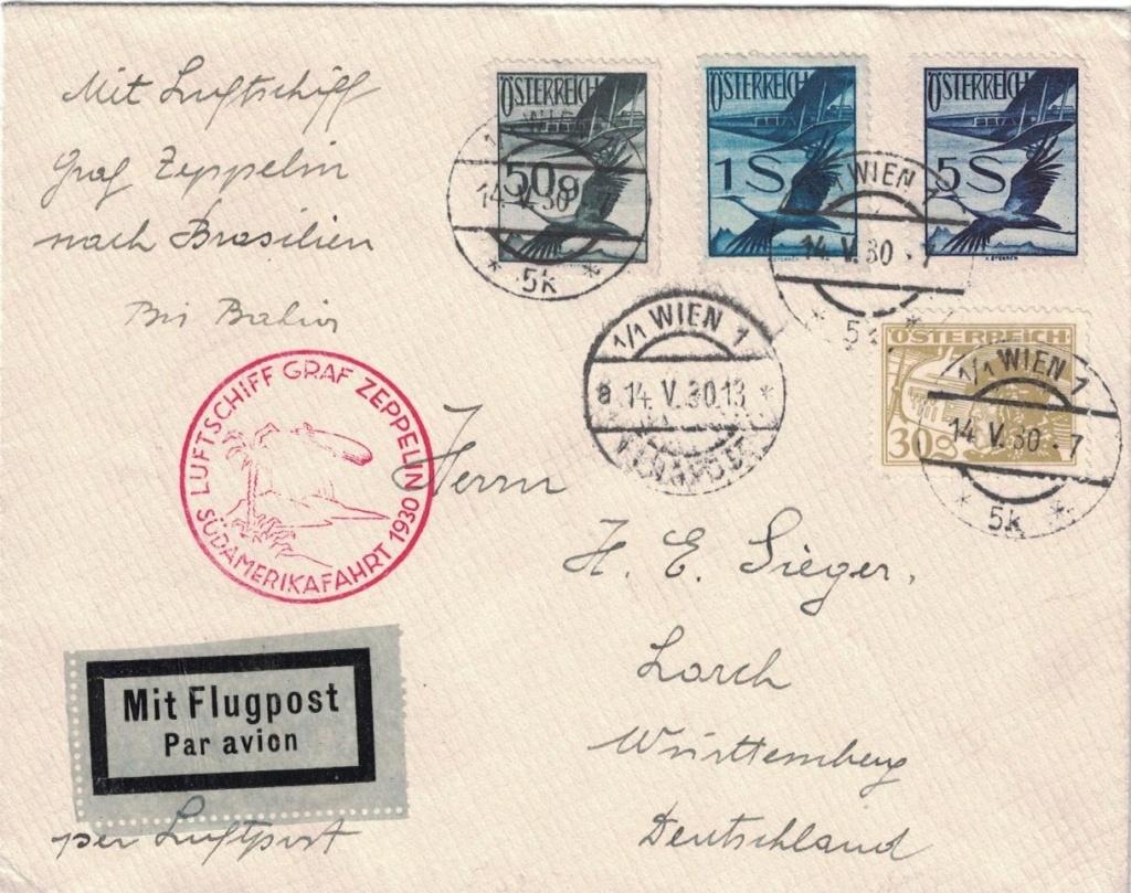 nach - Zeppelinpost aus/nach Österreich Bahia10