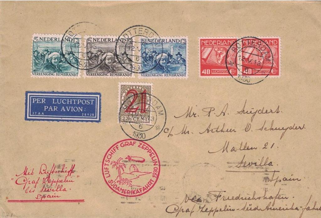 Kombination Zeppelinpost-Flugpost Hollan11
