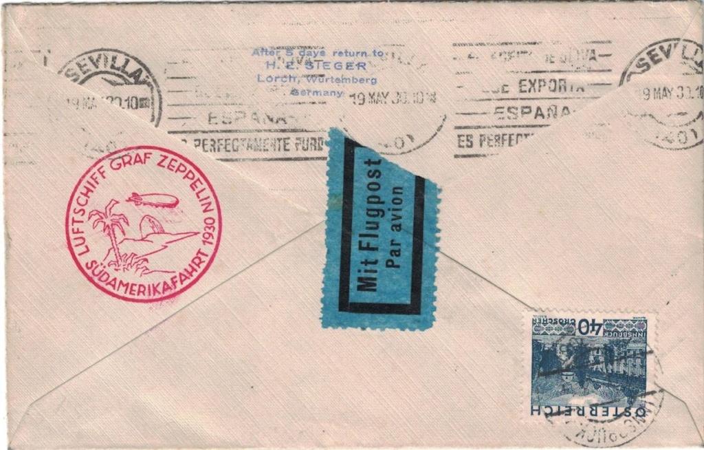 nach - Zeppelinpost aus/nach Österreich Sieger18