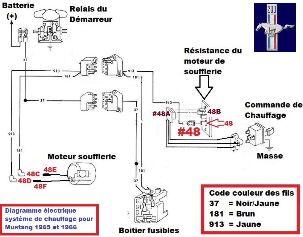 Mustang 1966: Sa se branche ou ? réponse à cette question ! Diagramme électrique  Heater11