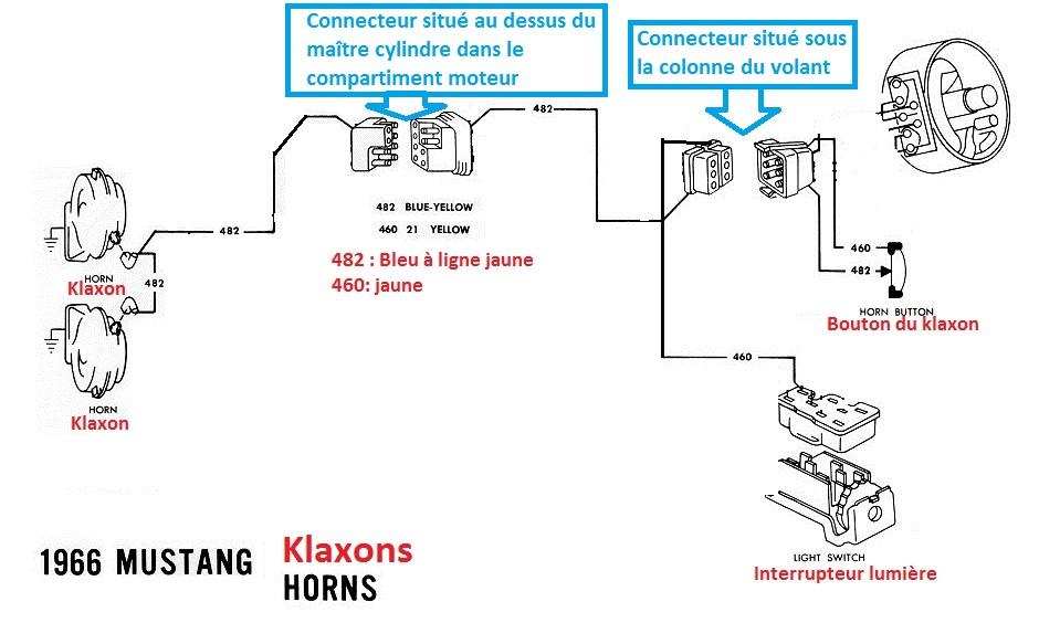 Mustang 1966: Sa se branche ou ? réponse à cette question ! Diagramme électrique  - Page 2 Klaxon10