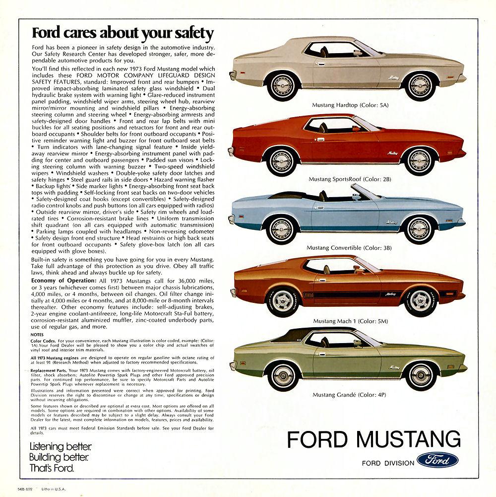 Brochure de vente: Mustang 1973 (version anglaise août 1972) N_197316