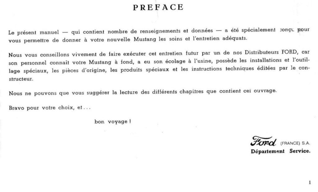 Mustang 1966 : Manuel d'entretien en français, édition de France Nouve195