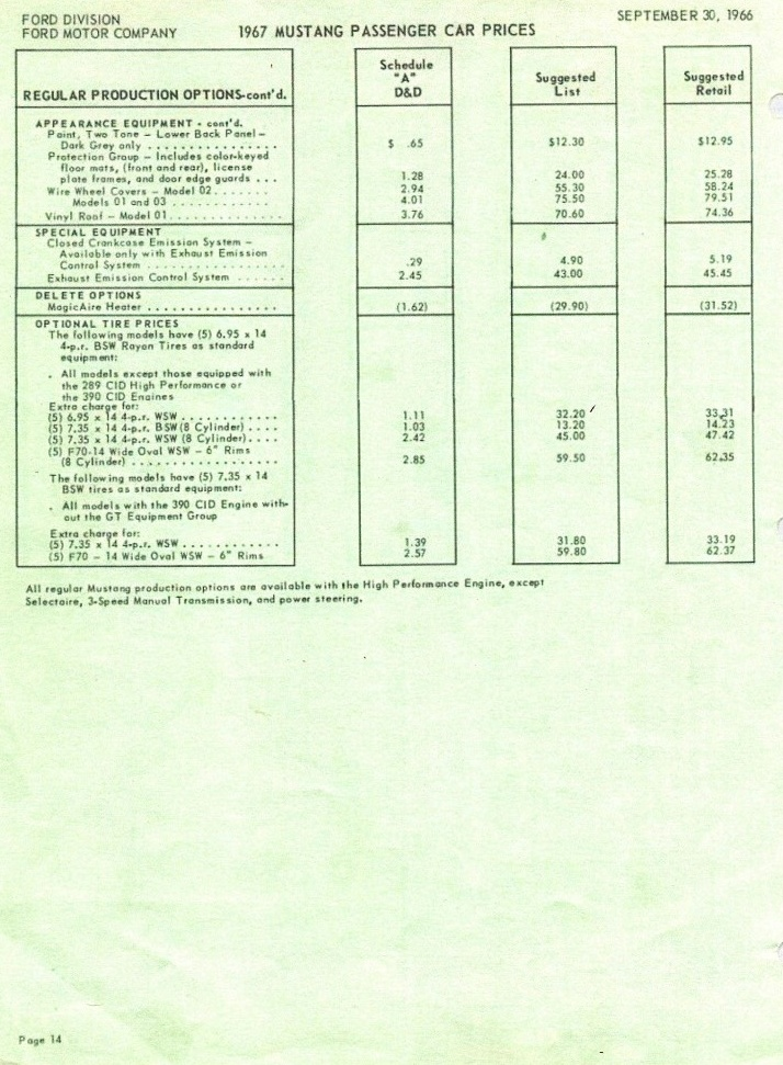 Liste des prix du 30 septembre 1966 pour la Mustang 1967 Option11