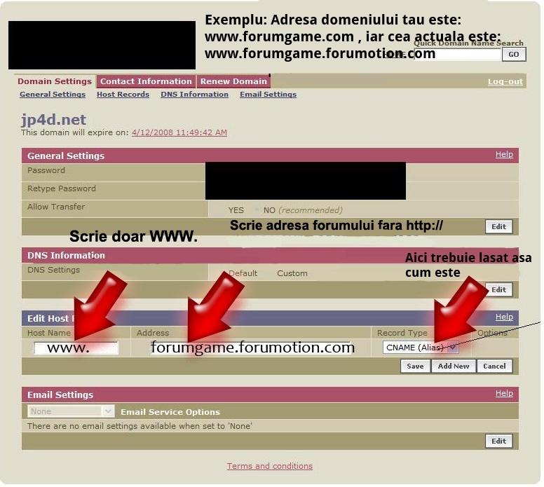 [CNAME]Redirecţionare domeniu extern către forumul dvs. Forumgratuit Imagin11