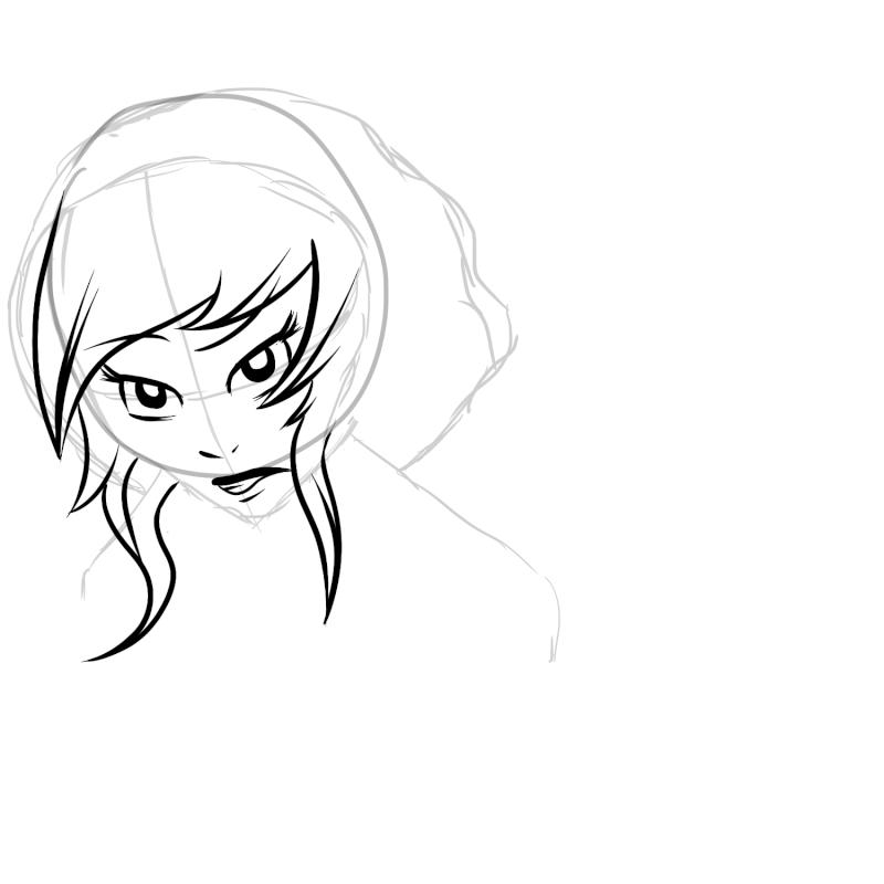 Etapes du dessin d'une jeune fille.  New_ca16