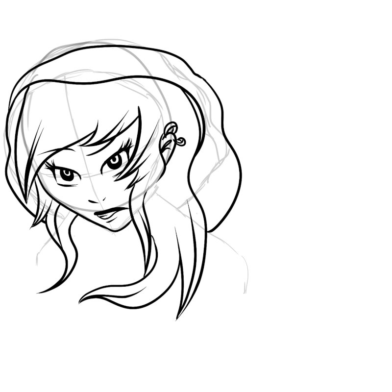 Etapes du dessin d'une jeune fille.  New_ca17