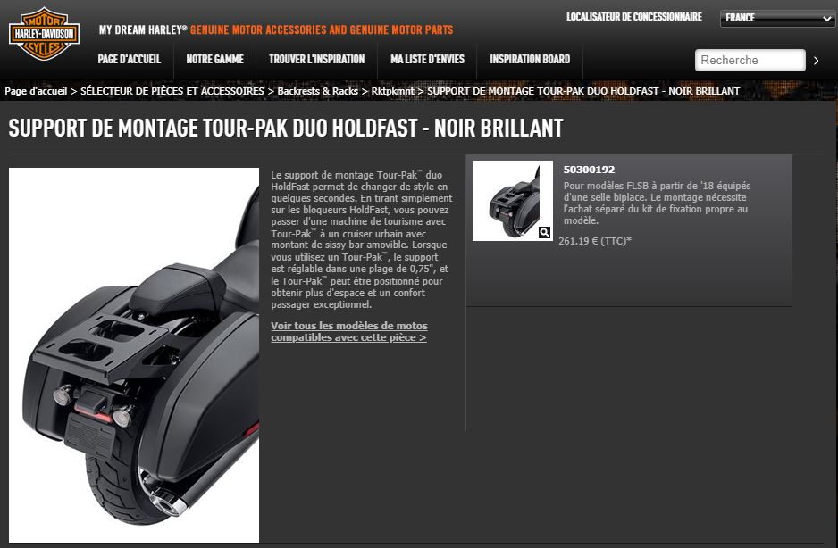 Support de montage Tour-Pak pour Sport Glide Suppor11