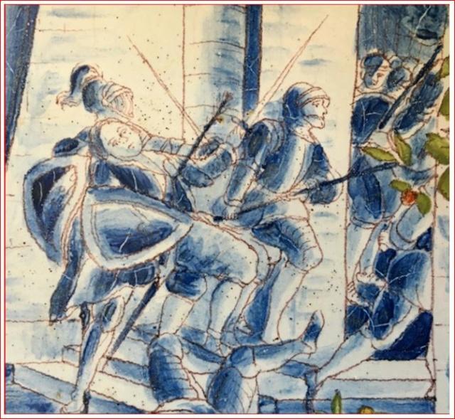 Plat ancien - décor d'une scène de bataille couleur bleue 000_218