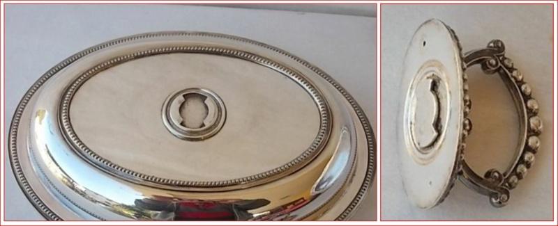 Une poignée amovible du couvercle d'un plat de service en métal argenté 0113