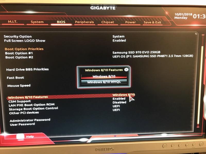 Installation Mojave Gigabyte gaming 5 Z370 Image110