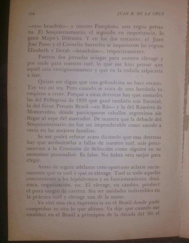 LIBRO EL TURF Y YO JUAN DE LA CRUZ 3d10
