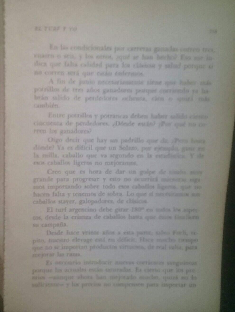 LIBRO EL TURF Y YO JUAN DE LA CRUZ 7d11