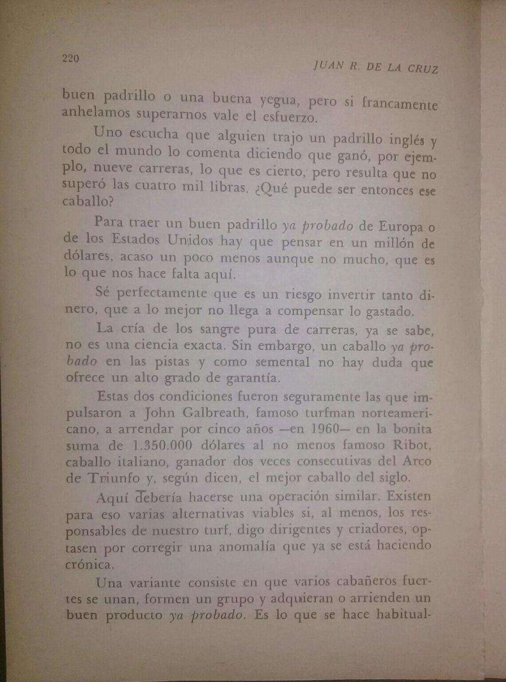 LIBRO EL TURF Y YO JUAN DE LA CRUZ 8d10