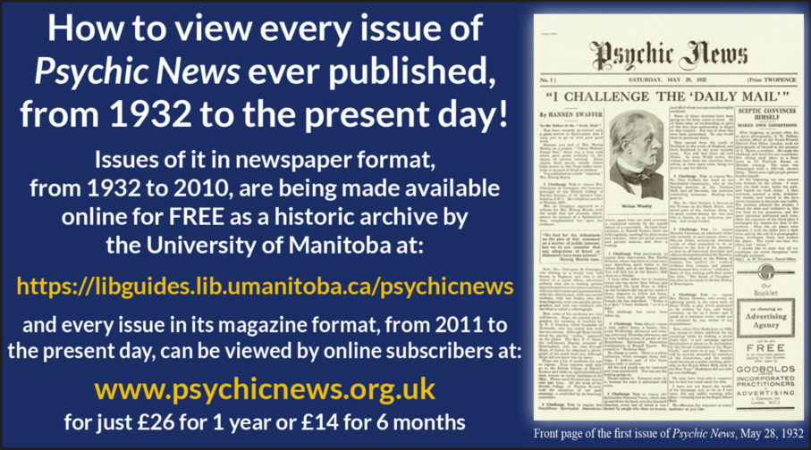 How to view every issue of 'Psychic News' ever published, from 1932 to the present day Canada10