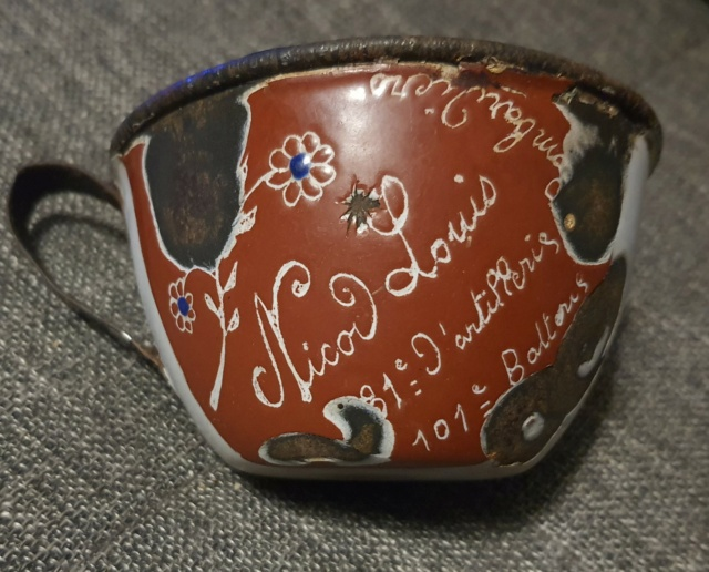Quart émaillé nominatif, souvenir de campagne 1914-15-16 bombardier 81ème RALT Art_tr12
