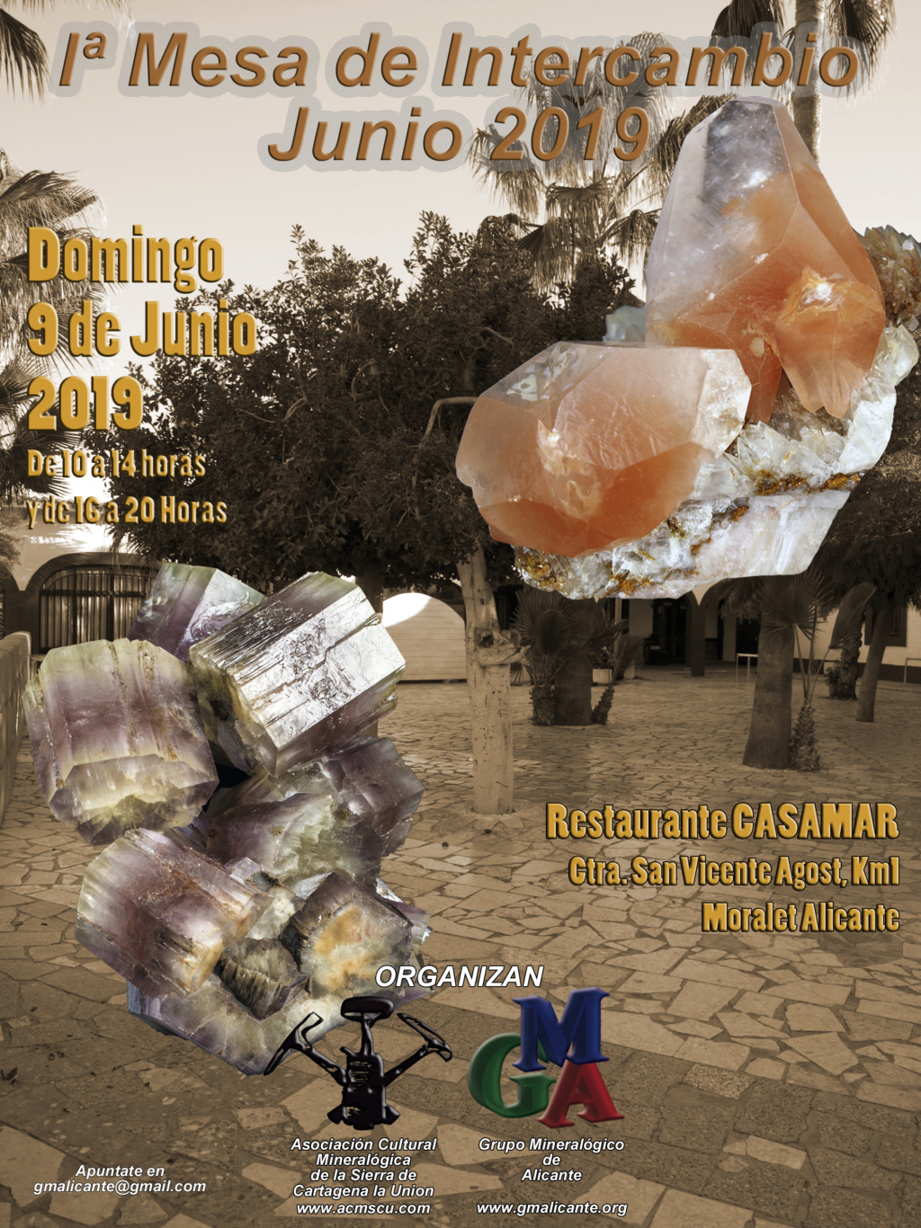 I Mesa de Intercambio de Minerales conjunta GMA Asociación Cultural mineralógica de la Sierra de Cartagena la Unión Cartel11