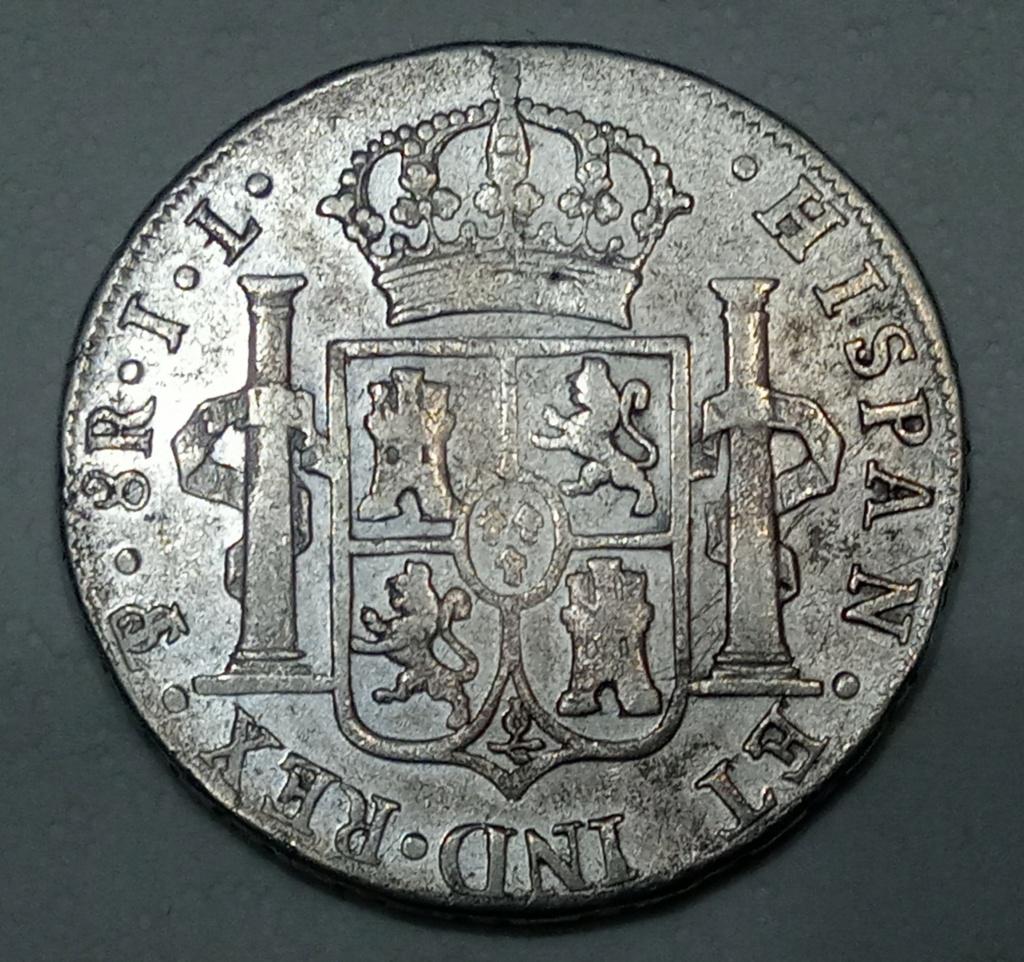 8 reales Fernando VII 1825 Potosí JL. Mi primer duro de Fernando VII 20201014