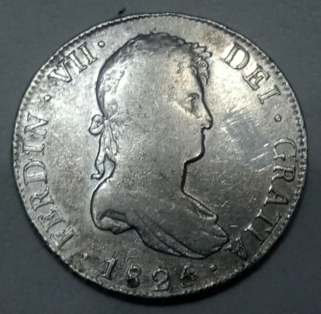 8 reales Fernando VII 1825 Potosí JL. Mi primer duro de Fernando VII 20201015