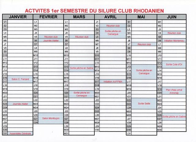 Calendrier des activités 1ersem11