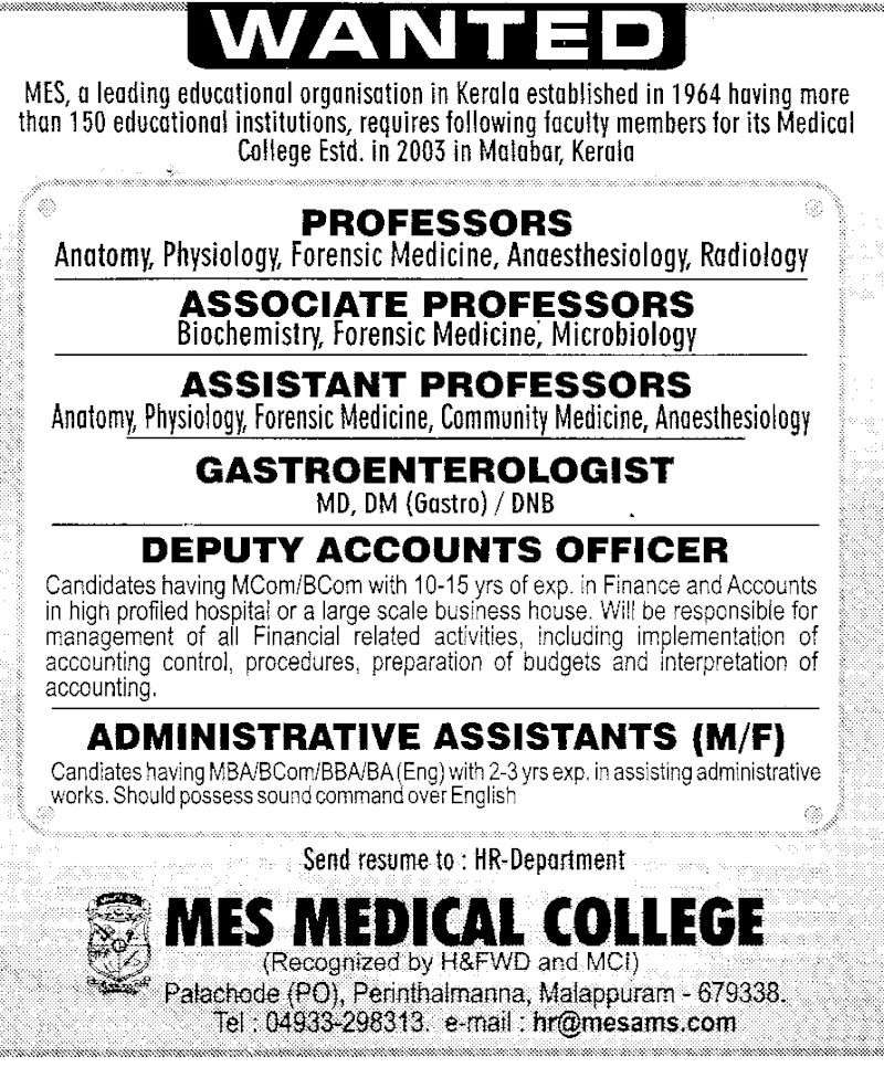 Professor and Assistant Professor - MES Medical College Scan10