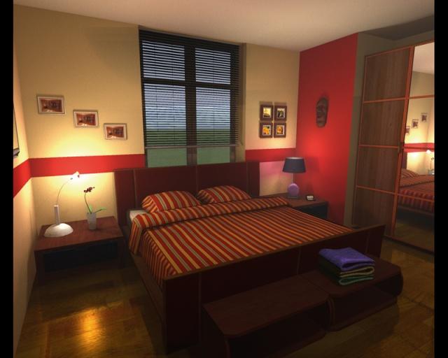 Chambre Au Style Pur Exemple De Deux Couleurs Diffrentes Beige Et Rouge  Murs Unis Et Murs Avec Frise With Peinture Deux Couleurs Diffrentes